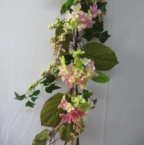 China Wreath & Garland Product  43 Pink/Green Hydrangea with Berries Garland on sale