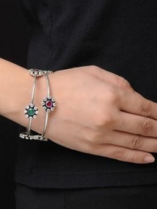 China Floral Pink-Green Crystal Silver Bangle - Set of 2 (Bangle Size - 2/8)Cuffs/Bracelets/Bangles on sale