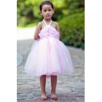 Ball Gown Scoop Neck Ankle Length Tulle Satin Pink Flower Girl Dresses With Applique Lace Bow