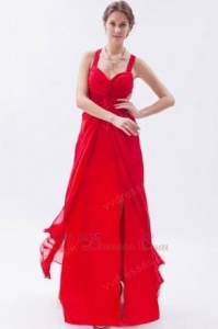China Exquisite Straps Front Split Skirt Scarlet Chiffon Prom Dress On Sale on sale
