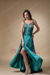 China Colorful Diamonds Teal Evening Dress With Side Split Skirt on sale