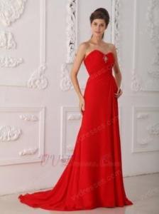 China 2014 Designer Prom Dress With Sweetheart Red Split Chiffon Skirt on sale