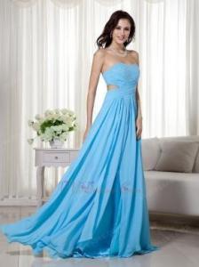 China Aqua Blue Split Chiffon Floor Length Designer Prom Dress on sale