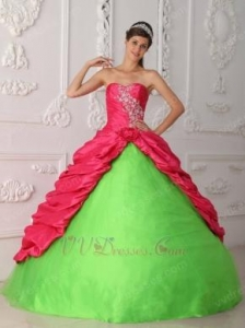 China Fuchsia And Spring Green Sweetheart Embroidery Dress For Quinceanera Party on sale