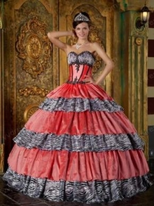 China Discount Sweetheart Zebra And Orange Pink Layers Ball Gown Quinceanera Dress on sale