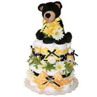 Neutral Diaper Cakes Bear and Bees Cloth Diaper Cake