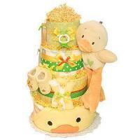 Girl Diaper Cakes Green and Yellow Bath Duck Diaper Cake