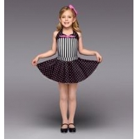 China halter leotard , black and white striped bodice, a black and hot pink polka dot skirt- dancing wear on sale