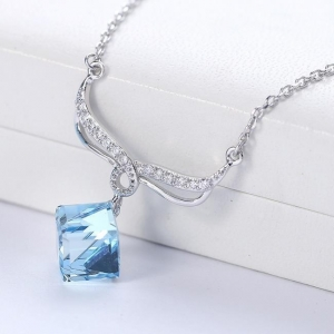 China 925 Sterling Silver Crystal Necklace on sale