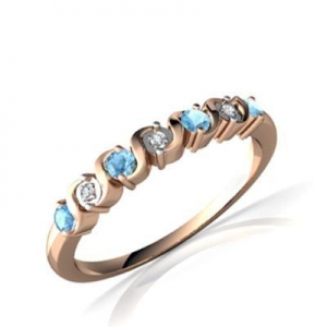 China Gemstones Jewelry Gemstone jewelry blue topaz gold ring on sale