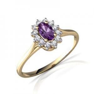 China Gemstones Jewelry Women's 18k yellow gold Ametheyst gemstone ring on sale