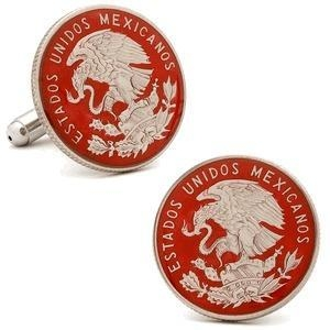 China Hand Painted Mexican Coin Cufflinks on sale