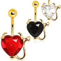 Devilish Heart with Gold Plated Horns & Tail Jeweled Belly Button Ring ITEM ID: NYD010