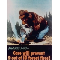 """Poster of Smokey the Bear Putting Out a Forest Fire """"Care Will Prevent 9 Out of 10 Forest Fires!"""""""