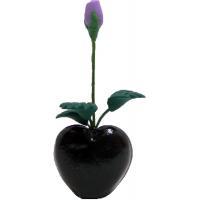 Purple Rose Bud in Black Heart Vase BDR631