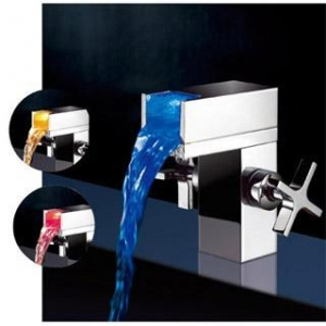 China Dual Handles Waterfall LED Basin Faucet on sale