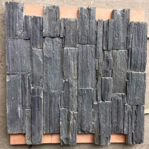 China (SMC-CC163)Natural Exterior Wall Black Slate Stacked Stone Cladding on sale