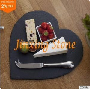 China Black Slate Heart Shape Plate Natural Stone Cheese Board Slate Heart Shaped Dinner Platter on sale