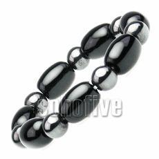 China Onyx Beaded Hematite Magnetic Bracelet 6 1/4 on sale