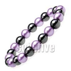 China Hematite Magnetic Faux Pearl Bracelet on sale