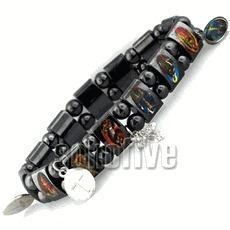 China Hematite Magnetic Christian Bracelet with Cross Pendant Square paper gift box (+$.98) on sale
