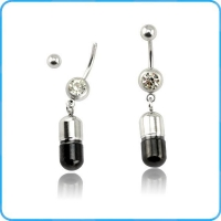 BR01912 Steel with Black Capsule Dangle on Belly Button Rings