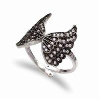 China high quality unique design fashion butterfly shape 925 silver black cz ring on sale
