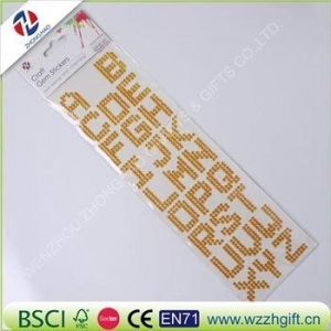 China adhesive crystal rhinestone letter sticker, adhesive crystal gem rhinestone alphabet sticker on sale