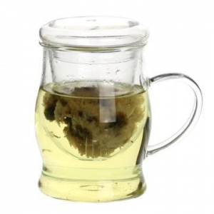China Drinking Glass Tea Cup Infuser With Handle on sale