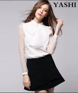 China Ladies Short Sleeve Shirt 100% Polyester Chiffon Blouse on sale