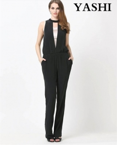 China Sexy Pure Black Backless Jumpsuit for Women on sale