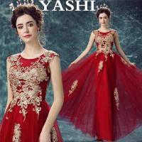 New Desing Plus Size Evening Wine Red Dress Guangzhou