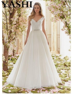 China Beaded Embroidery Organza Bridal Wedding Dresses 6836 on sale