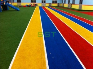 China Artificial Grass For Playground Soft Fell Colourful Artificial Grass For Kindergarten on sale
