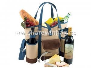 Quality cotton wine bag with bottle cooler holder for sale