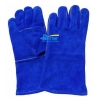 China Deluxe 14 inch Blue Split Cowhide Leather Welding Work Gloves for sale