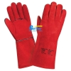 China Deluxe 14 inch Red Cow Split Leather Welding Gloves for sale