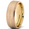 China 18K Rose Gold Brushed Tungsten Rings for Men Beveled High Polished 8mm for sale