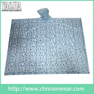 China Wholesale customization Printed PVC Emergency Motorcycle Rain Gear Poncho Raincoat on sale