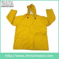 China Mens Waterproof Hooded Yellow Rain Jacket For Womens Raincoat on sale