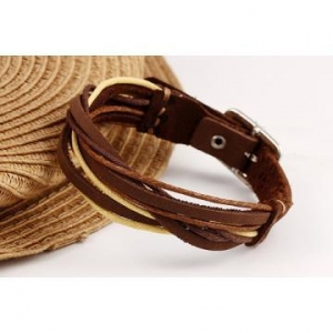 China Custom Leather Bracelets Simple Weaved Real Leather Bangle on sale