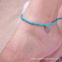 China Ladies Beads Anklet Foot Ankle Chain Hamsa Charm Bracelet on sale