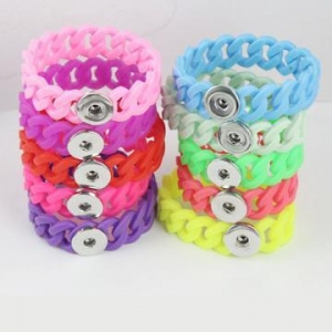 China Multi Colors Twist Silicone Noosa Bracelets DIY Button Charm on sale