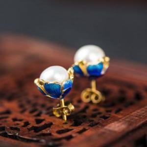 China Wholesale 925 Sterling Silver Ear Stud Cloisonne Flower Freshwater Pearl Earrings on sale