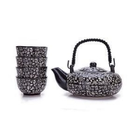 China Contemporary Art Decor Porcelain 5 PCS Tea Set Teapot Teacup Kanji Calligraphy Black on sale