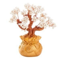 China Stunning Feng Shui Artificial White Pearl Bonsai Money Tree on sale