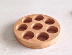 China 8 Holes Bamboo Round Tray on sale