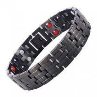 China Men's 16MM Black Stainless Steel Magnetic Bracelet Negative Ion Germanium Balance Wristband on sale