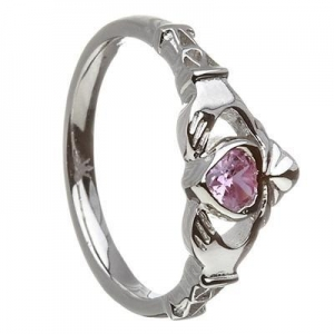 China 10k White Gold October CZ Pink Tourmaline Birthstone Claddagh Ring 11mm on sale