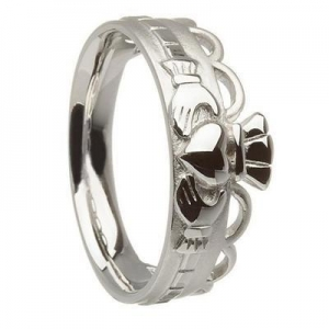 China Sterling Silver Band Style Claddagh Ring 8.2mm on sale